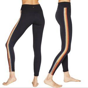 Spiritual Gangster Rainbow Stripe Zipper Leggings